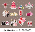 wedding stickers | Shutterstock .eps vector #113021689