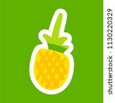 pineapple cartoon sticker. nice ... | Shutterstock .eps vector #1130220329