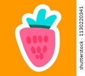 strawberry cartoon sticker.... | Shutterstock .eps vector #1130220341
