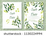 wedding invitation frames with... | Shutterstock .eps vector #1130224994