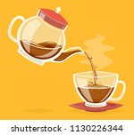pour coffee drink from glass... | Shutterstock .eps vector #1130226344