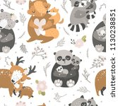 Stock vector kids background with cute forest animals fox panda deer bear and raccoon mother and baby 1130238851