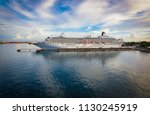 luxury cruise ship docked in... | Shutterstock . vector #1130245919
