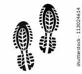 Black Shoe Print On White...
