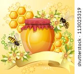 Background With Bees And Honey...