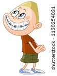 kid pretends innocence with a... | Shutterstock .eps vector #1130254031