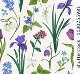 seamless pattern with spring... | Shutterstock .eps vector #1130255981