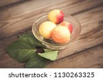organic apricots on rustic... | Shutterstock . vector #1130263325