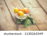 organic apricots on rustic... | Shutterstock . vector #1130263349