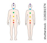 chakras on the human body.... | Shutterstock .eps vector #1130281574