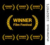 film awards gold labels set on... | Shutterstock .eps vector #1130295071