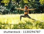 young female stretching and... | Shutterstock . vector #1130296787