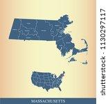 massachusetts county map vector ... | Shutterstock .eps vector #1130297117