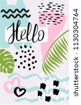 trendy tropic pattern cover.... | Shutterstock .eps vector #1130304764