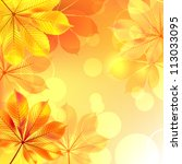 autumn background with yellow... | Shutterstock .eps vector #113033095