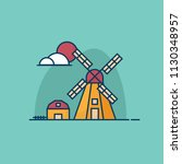 illustration of summer windmill ... | Shutterstock .eps vector #1130348957