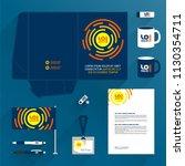 blue folder template design and ... | Shutterstock .eps vector #1130354711