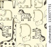 seamless pattern with cute ... | Shutterstock .eps vector #1130377751