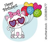 cute cat with sunglasses and... | Shutterstock .eps vector #1130385677