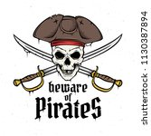 jolly roger with captain's hat... | Shutterstock .eps vector #1130387894