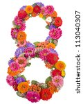 Number 8 Made From Flowers