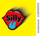 silly inscription in red lips...   Shutterstock .eps vector #1130409935