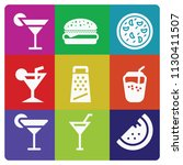 filled set of 9 food icons such ... | Shutterstock .eps vector #1130411507