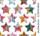 seamless pattern with stars.... | Shutterstock .eps vector #1130414864