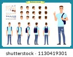 standing young boy. male... | Shutterstock .eps vector #1130419301