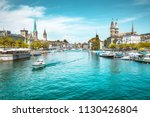 panoramic view of zurich city... | Shutterstock . vector #1130426804