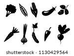 vector set of black silhouettes ... | Shutterstock .eps vector #1130429564