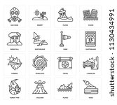 set of 16 icons such as hose ...