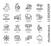set of 16 icons such as melting ...