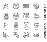 set of 16 icons such as flood ... | Shutterstock .eps vector #1130435114