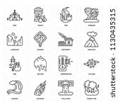 set of 16 icons such as forest...