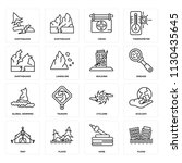 set of 16 icons such as flood ... | Shutterstock .eps vector #1130435645