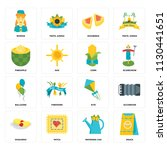 set of 16 icons such as snack ...