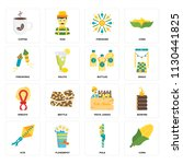 set of 16 icons such as corn ...