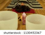 crystal bowls used for healing... | Shutterstock . vector #1130452367