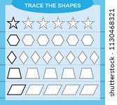 trace the shapes. kids... | Shutterstock .eps vector #1130468321