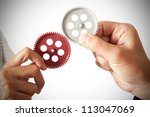 partnership concept with gear... | Shutterstock . vector #113047069