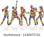 dancing people silhouettes.... | Shutterstock .eps vector #1130472731