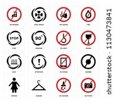 set of 16 icons such as no... | Shutterstock .eps vector #1130473841