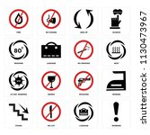 set of 16 icons such as warning ...