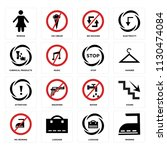 set of 16 icons such as ironing ...