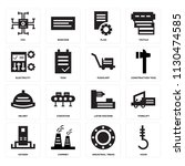 set of 16 icons such as hook ...