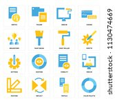 set of 16 icons such as color...