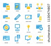 set of 16 icons such as cloud... | Shutterstock .eps vector #1130474807