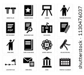 set of 16 icons such as monthly ...