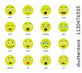 set of 16 icons such as sad ...